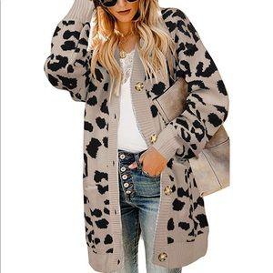 Sweaters - Open front leopard cardigan
